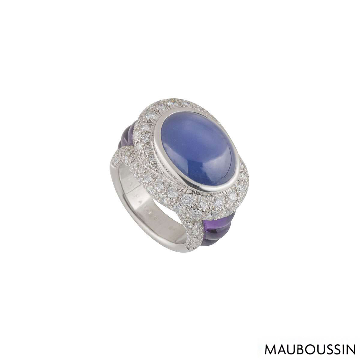 Mauboussin White Gold Diamond, Sapphire and Amethyst Ring
